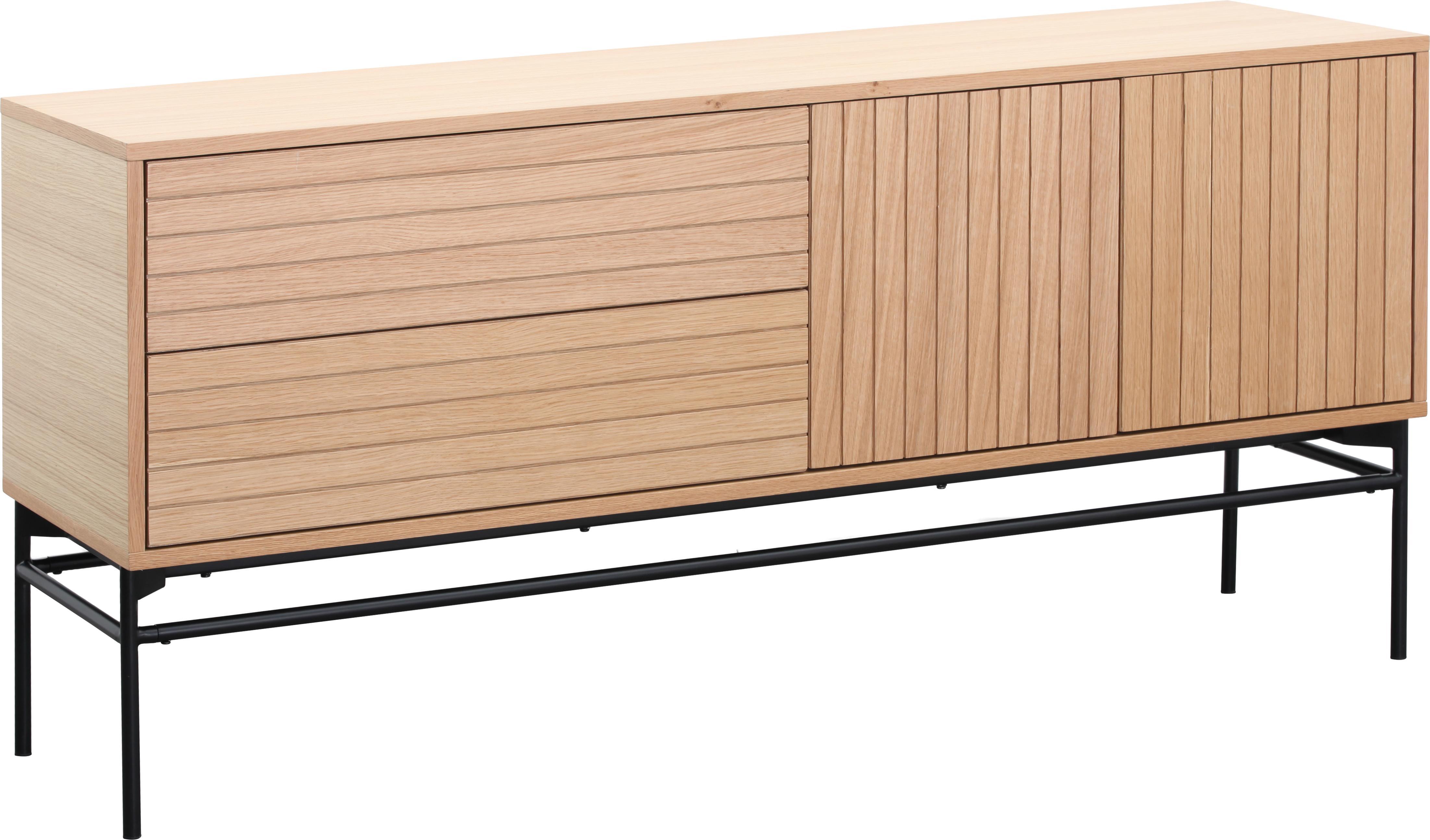 Modernes Sideboard Johan, Korpus: Mitteldichte Holzfaserpla, Füße: Metall, pulverbeschichtet, Korpus: EichenholzfurnierFüße: Schwarz, matt, 160 x 75 cm