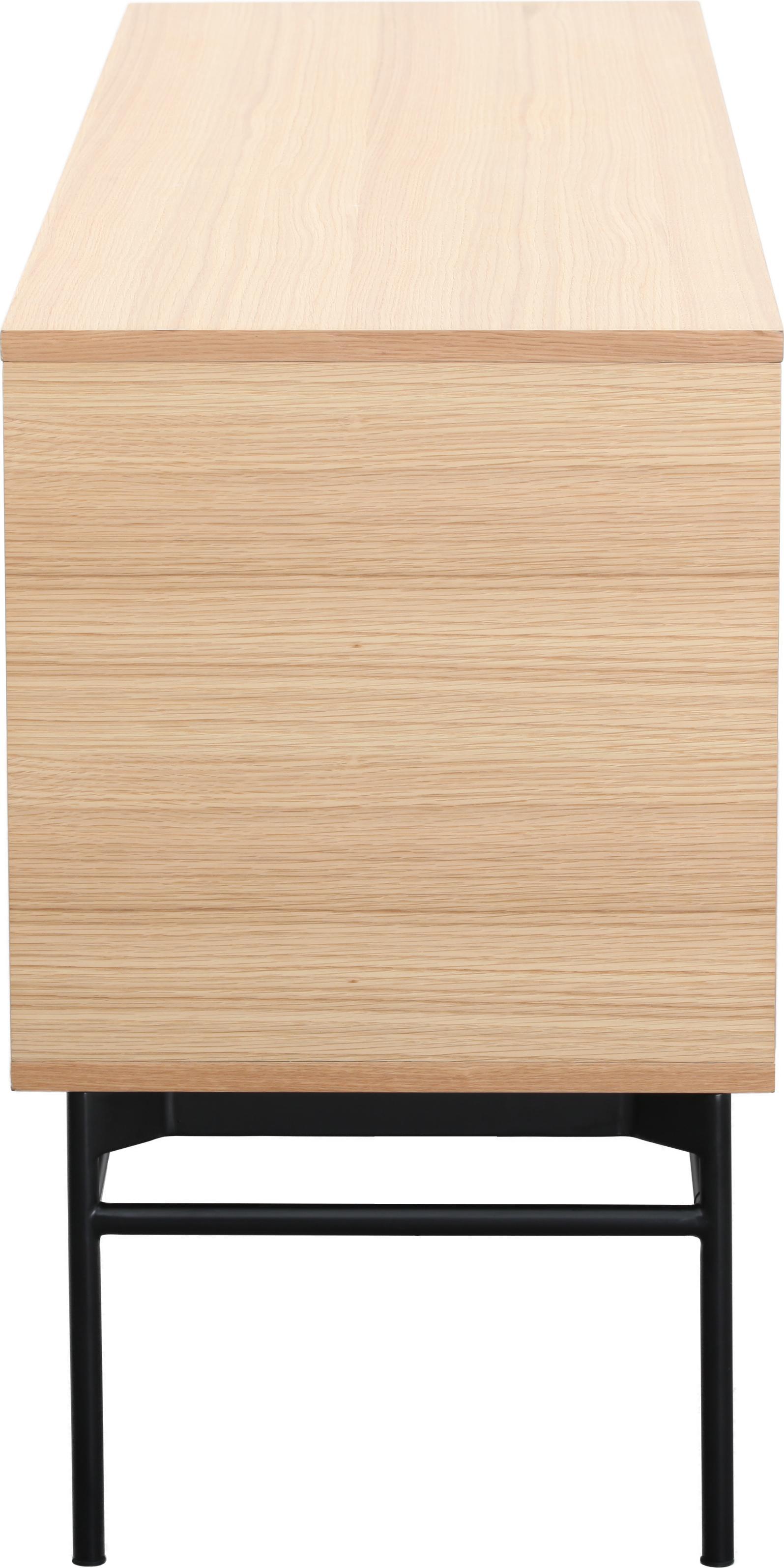 Modern dressoir Johan, Frame: MDF met eikenhoutfineer, Poten: gepoedercoat metaal, Frame: eikenhoutkleurig. Poten: mat zwart, 160 x 75 cm