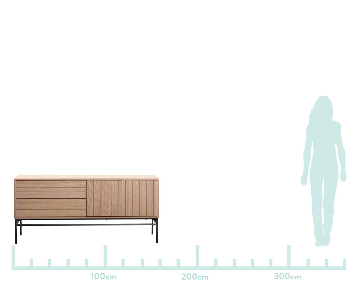 Komoda  modern Johan, Korpus: płyta pilśniowa średniej , Nogi: metal malowany proszkowo, Korpus: fornir z drewna dębowego Nogi: czarny, matowy, S 160 x W 75 cm
