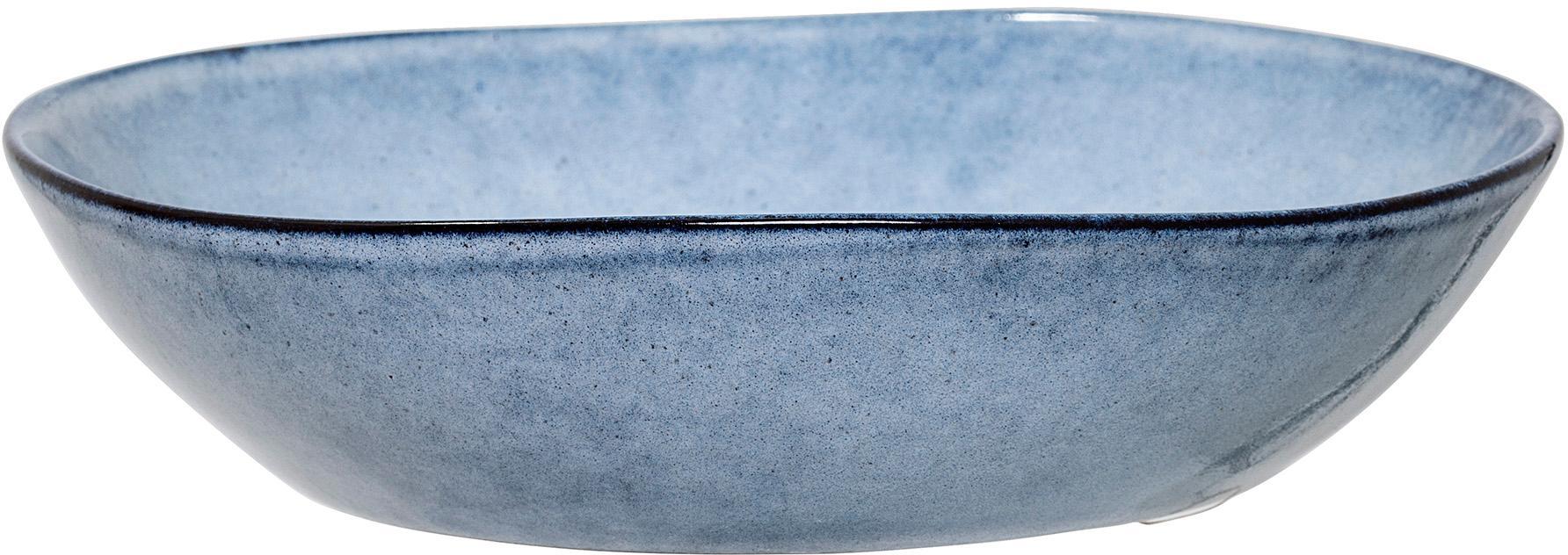 Handgemachter Suppenteller Sandrine in Blau, Steingut, Blautöne, Ø 22 x H 5 cm