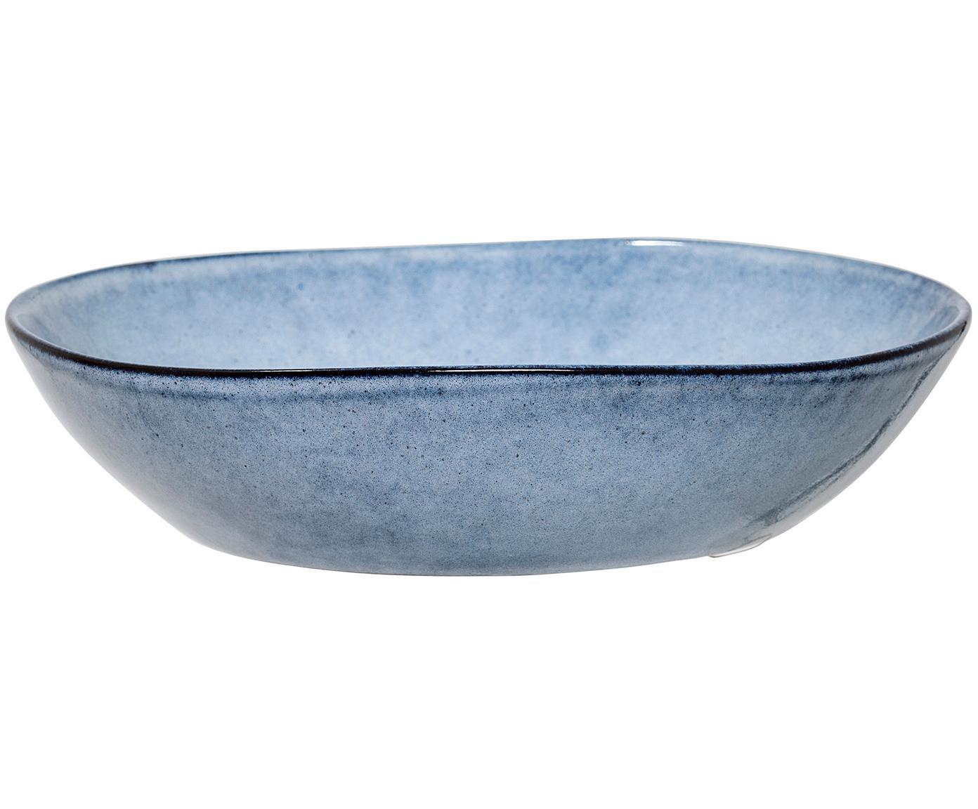 Handgemaaakt soepbord Sandrine, Keramiek, Blauw, Ø 22 x H 5 cm