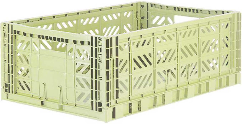 Cesto grande pieghevole e impilabile Melon, Materiale sintetico riciclato, Verde melone, Larg. 60 x Alt. 22 cm