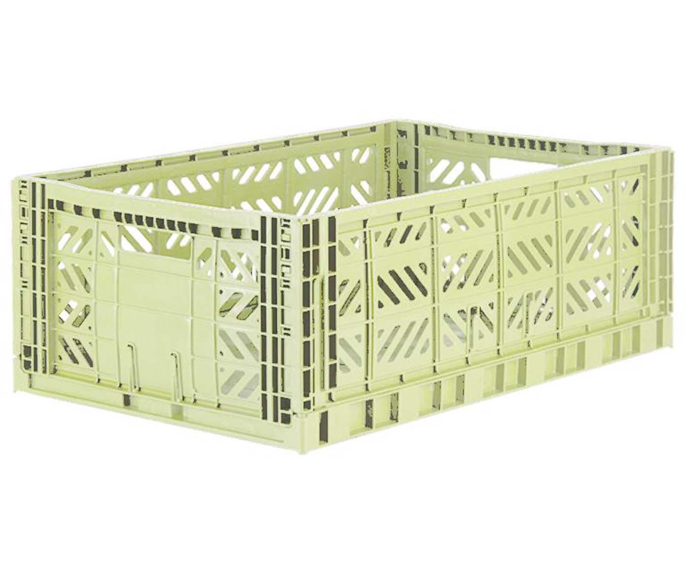 Caja pegable apilable Melon, grande, Plástico reciclado, Verde melón, An 60 x Al 22 cm