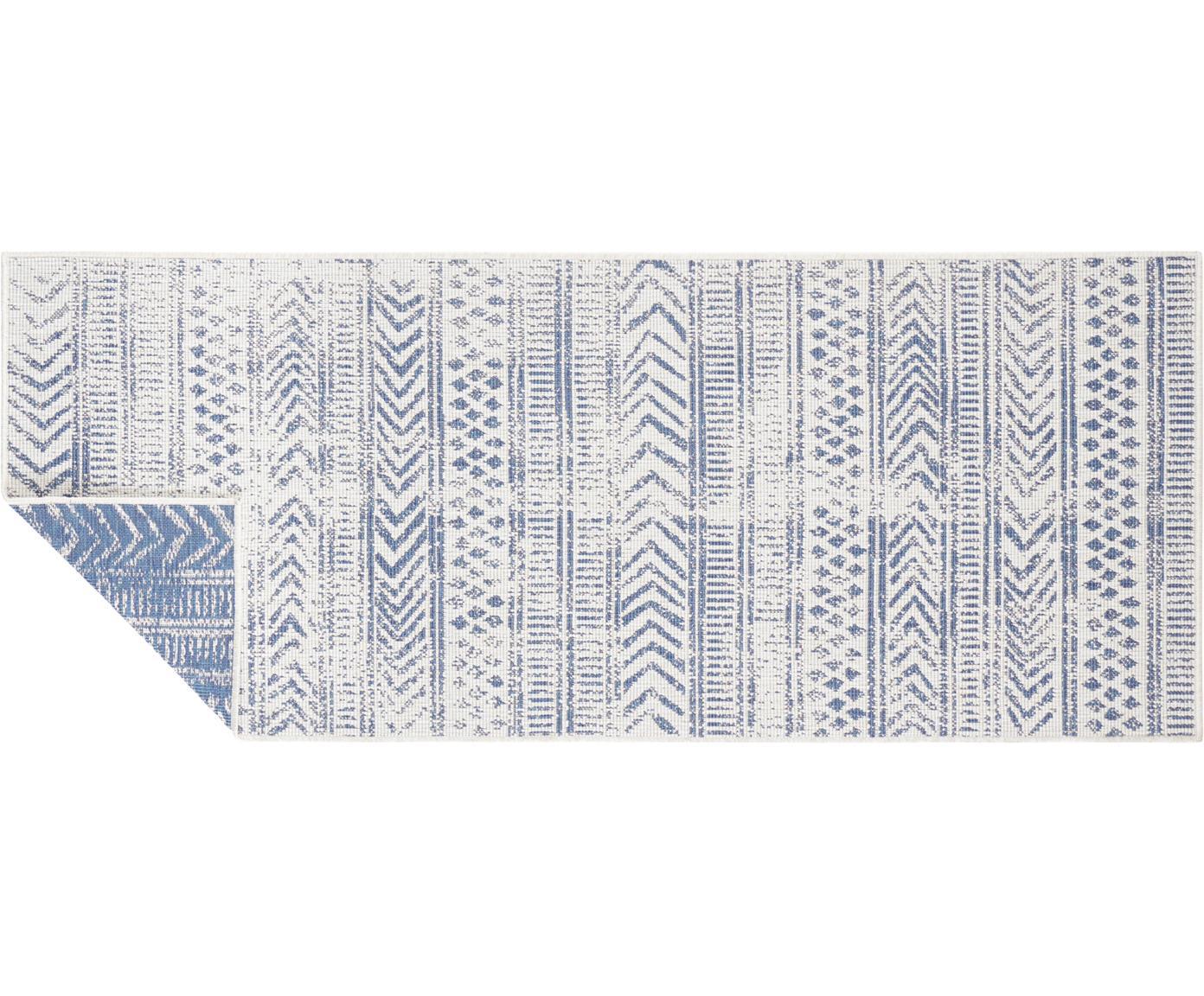 Gemusterter In- & Outdoor-Wendeläufer Biri in Blau/Creme, 100% Polypropylen, Blau, Creme, 80 x 250 cm