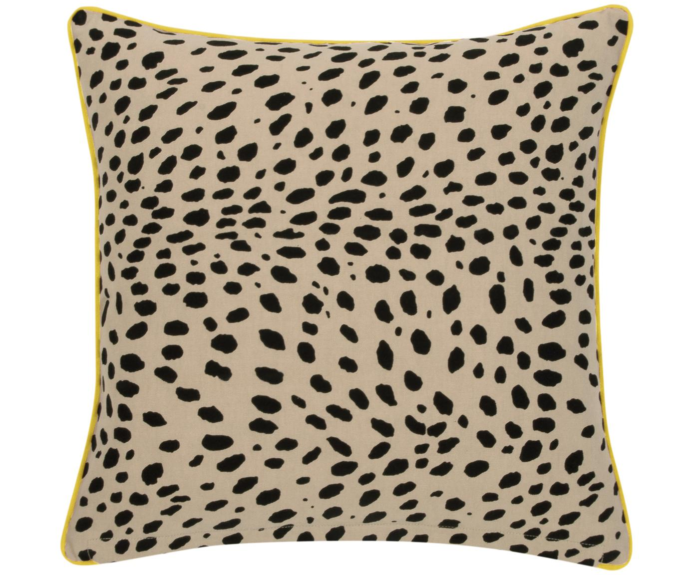 Kussenhoes Leopard, 100% katoen, Beige, zwart, geel, 45 x 45 cm