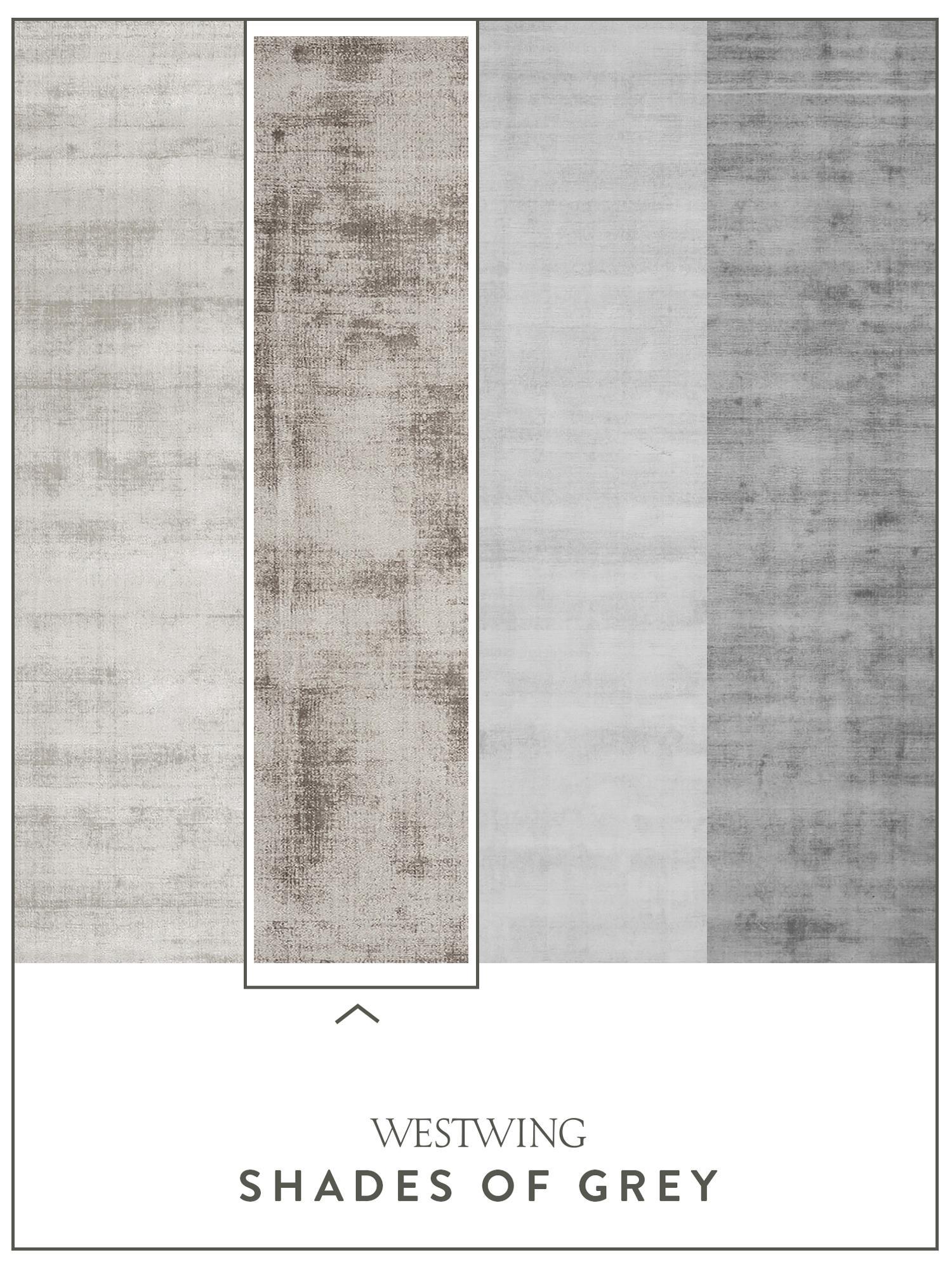 Handgewebter Viskoseläufer Jane in Taupe, Flor: 100% Viskose, Taupe, 80 x 250 cm