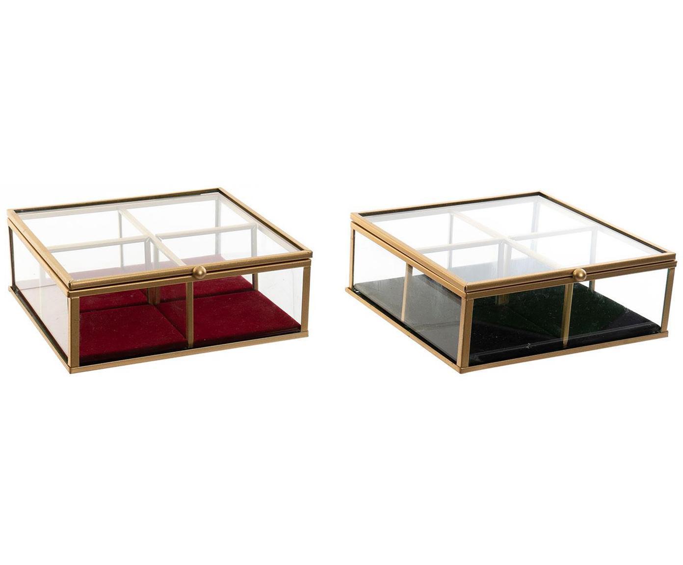 Set de joyeros Barbara, 2pzas., Estructura: metal, Transparente, An 15 x Al 6 cm