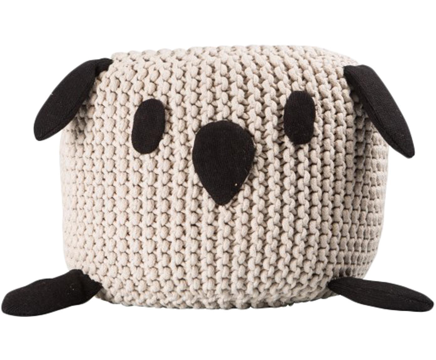 Pouf Bunny, Rivestimento: cotone, Beige, nero, Ø 40 x Alt. 30 cm