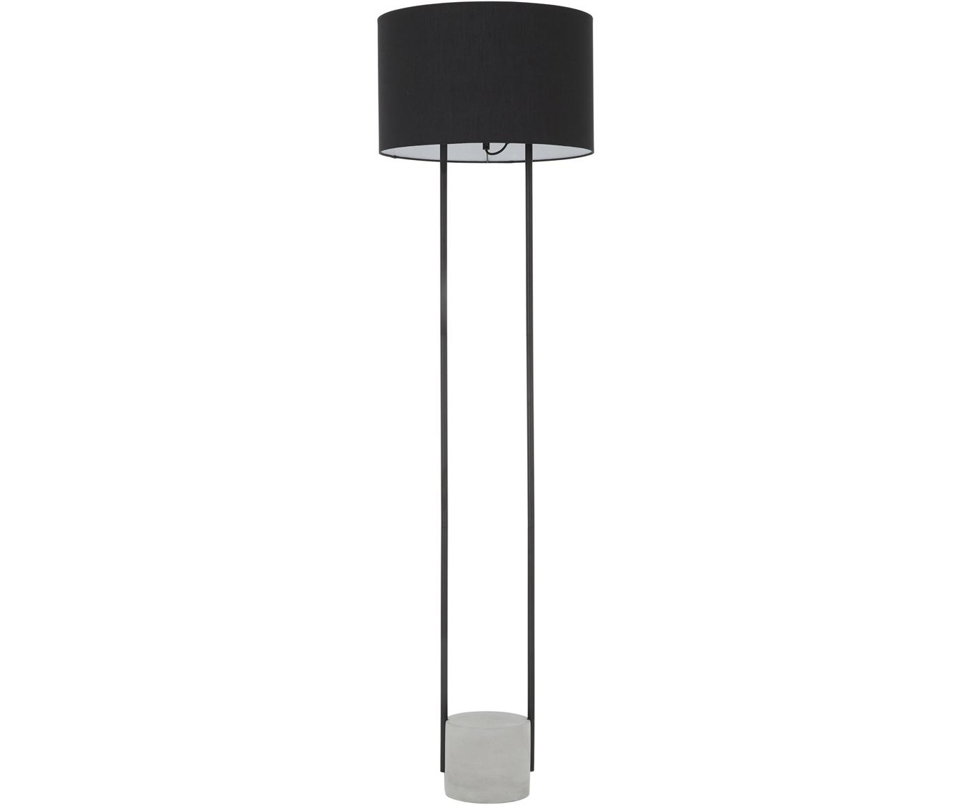 Lámpara de pie Pipero, Pantalla: tela, Cable: cubierto en tela, Negro, gris, Ø 45 x Al 161 cm