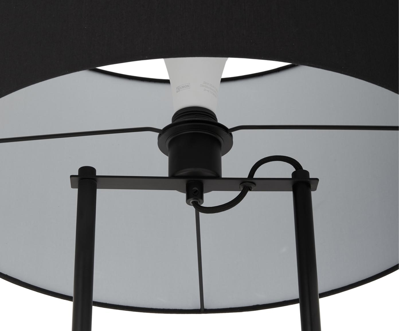 Stehlampe Pipero mit Betonfuß, Lampenschirm: Textil, Lampenfuß: Metall, pulverbeschichtet, Lampenschirm:SchwarzLampenfuß:Schwarz, matt, GrauKabel: Schwarz, Ø 45 x H 161 cm