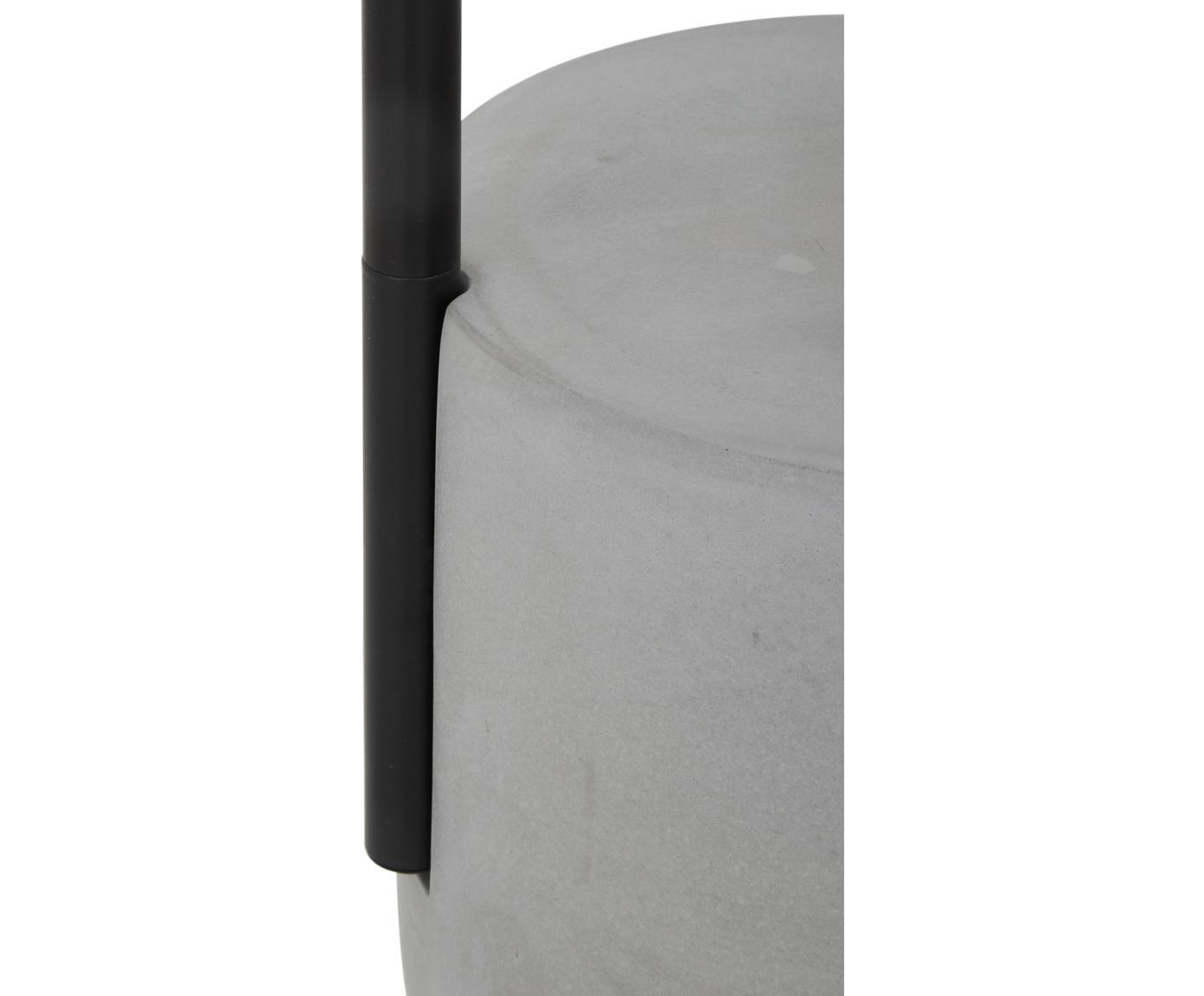 Lampa podłogowa z betonową podstawą Pipero, Klosz: czarny Podstawa lampy: czarny, matowy, szary Kabel: czarny, Ø 45 x W 161 cm
