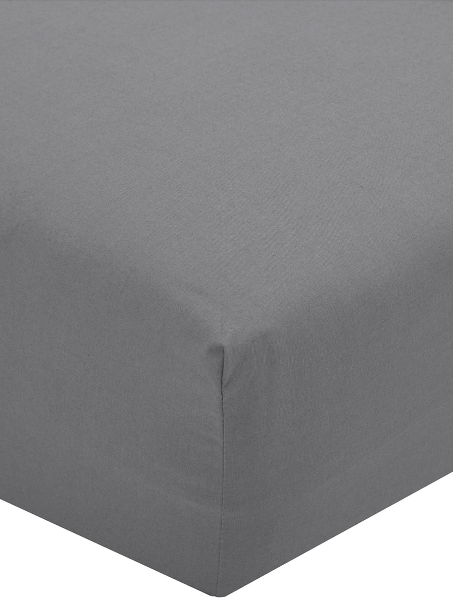 Sábana bajera de percal Elsie, Gris oscuro, Cama 135/140 cm (140 x 200 cm)