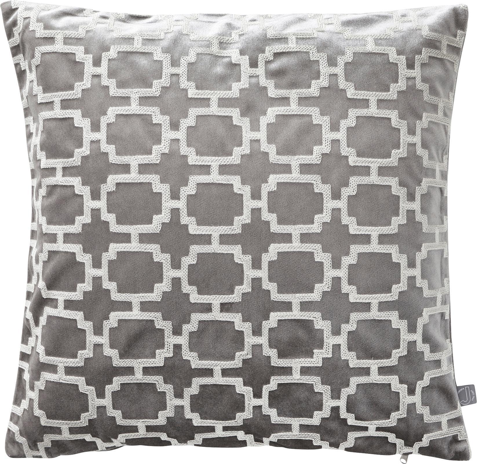 Poszewka na poduszkę z aksamitu Simone, 100% aksamit poliestrowy, Szary, złamana biel, S 43 x D 43 cm