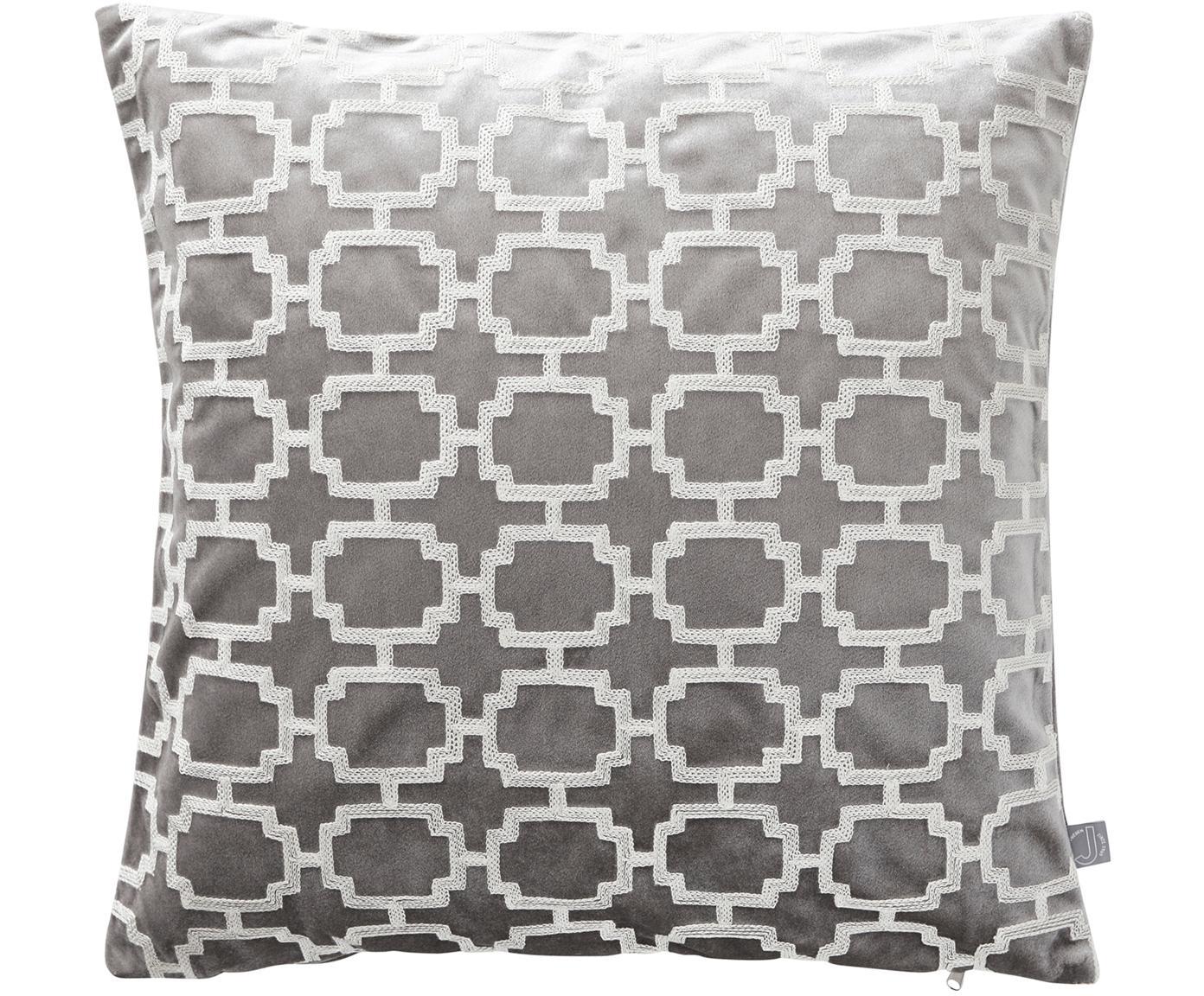Bestickte Samt-Kissenhülle Simone, 100% Polyestersamt, Grau, gebrochenes Weiß, 45 x 45 cm