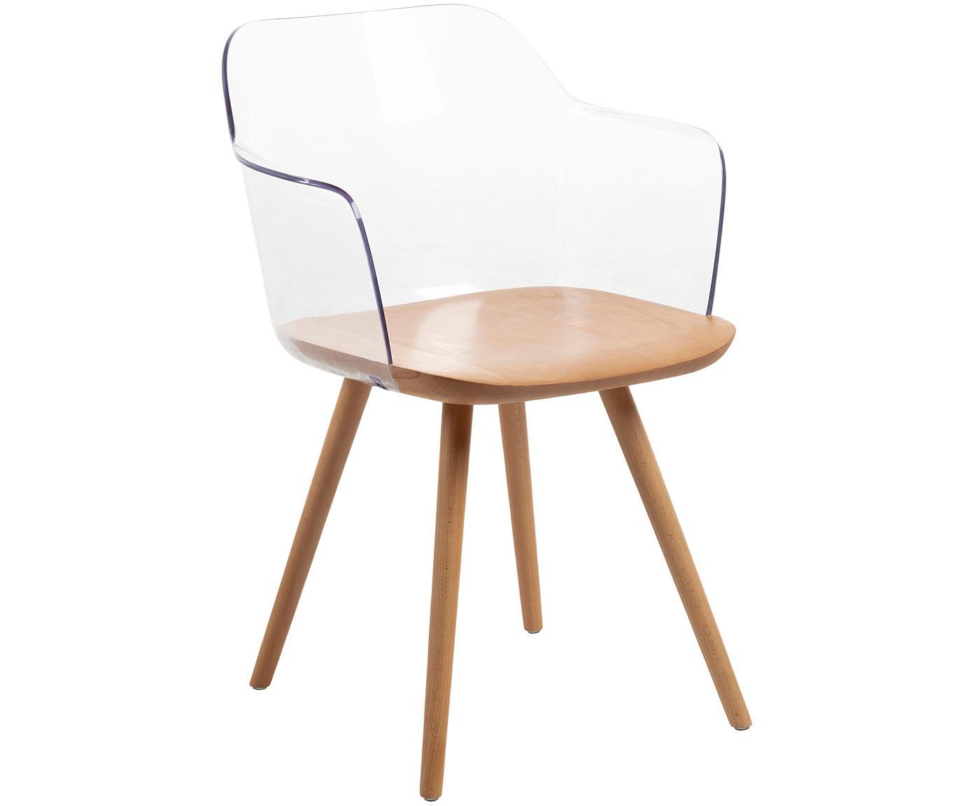 Sedia con braccioli Bjorg 2 pz, Trasparente, legno di faggio, Larg. 56 x Prof. 56 cm