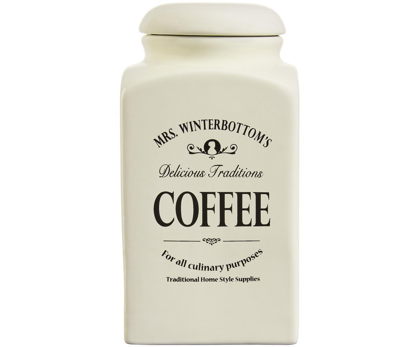 Opbergpot Mrs Winterbottoms Coffee, Keramiek, Crèmekleurig, zwart, 11 x 21 cm