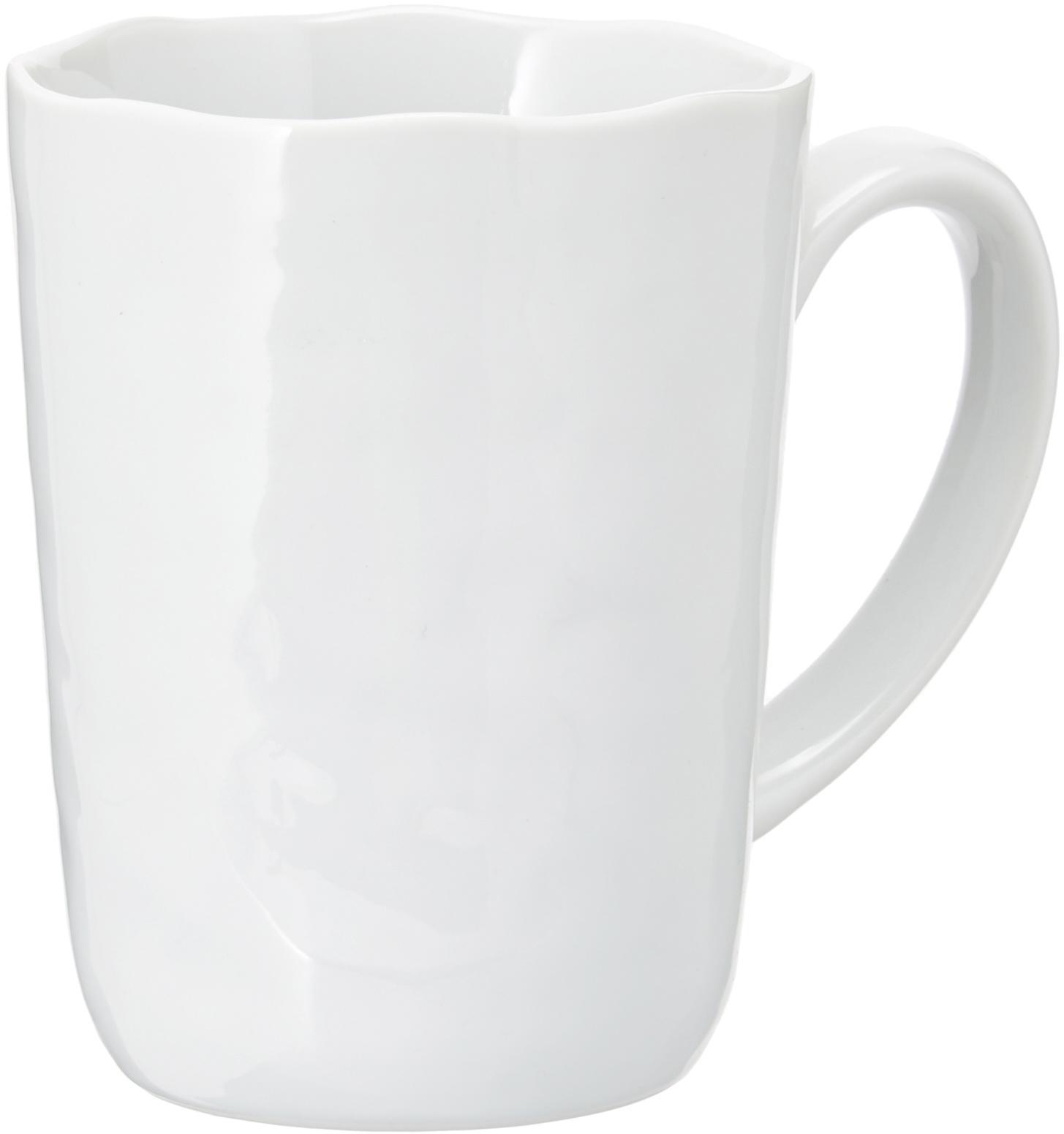 Koffiemokken Porcelino, 6 stuks, Porselein, Wit, Ø 8 x H 11 cm