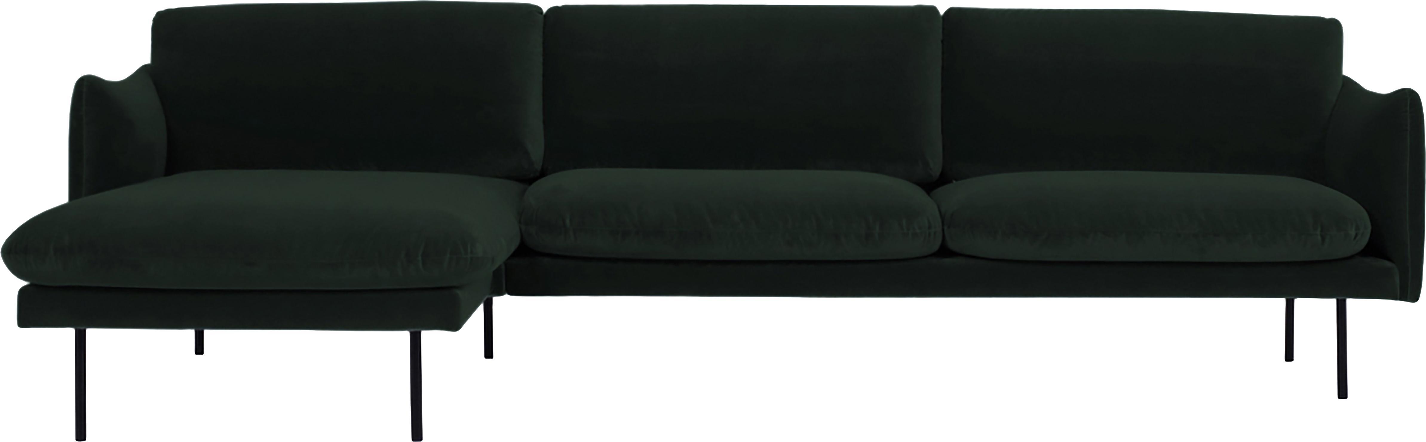 Sofa narożna z aksamitu Moby, Tapicerka: aksamit (wysokiej jakości, Stelaż: lite drewno sosnowe, Nogi: metal malowany proszkowo, Ciemnyzielony, S 280 x G 160 cm