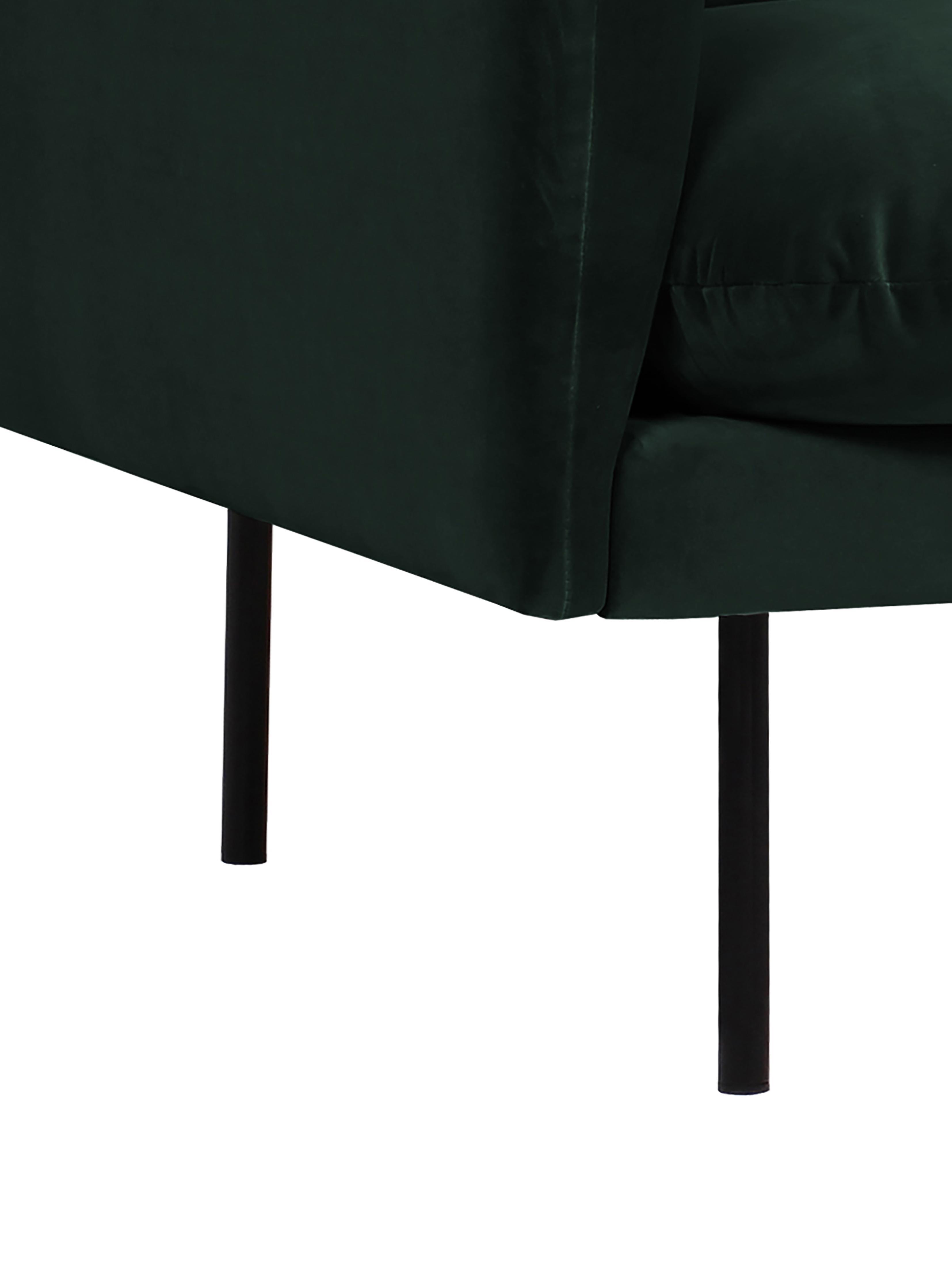 Divano angolare in velluto verde scuro Moby, Rivestimento: velluto (rivestimento in , Struttura: legno di pino massiccio, Piedini: metallo verniciato a polv, Velluto verde scuro, Larg. 280 x Prof. 160 cm