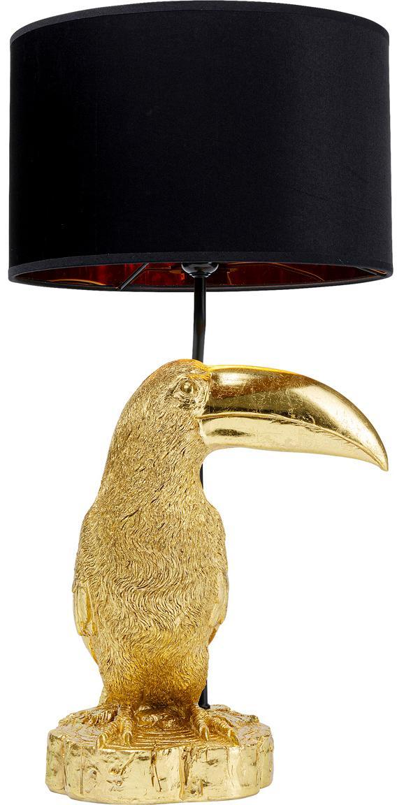 Grosse Tischlampe Toucan aus vergoldetem Kalkstein, Goldfarben, Schwarz, Ø 38 x H 70 cm