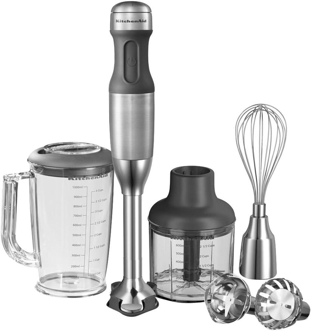 Stabmixer-Set KitchenAid, 14-tlg., Gehäuse: Kunststoff., Edelstahl, 6 x 40 cm