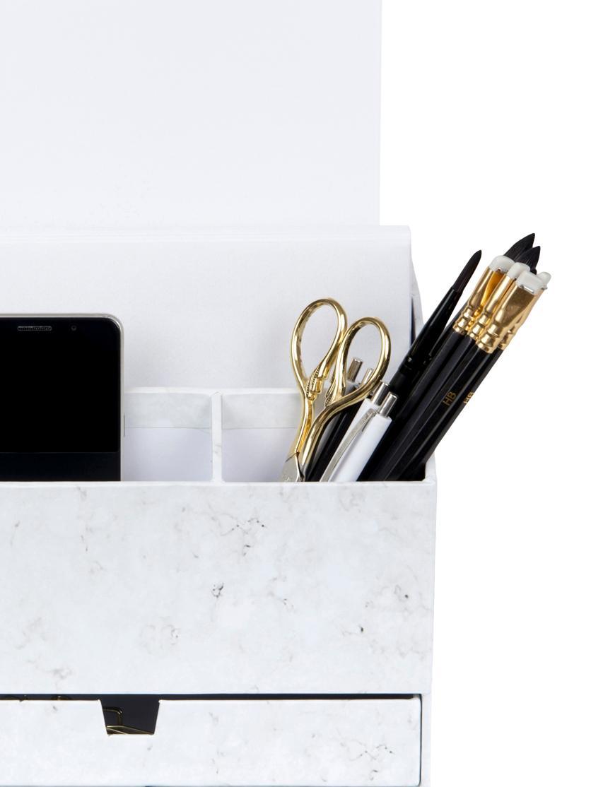Büro-Organizer Greta, Fester, laminierter Karton, Weiß, marmoriert, 24 x 18 cm