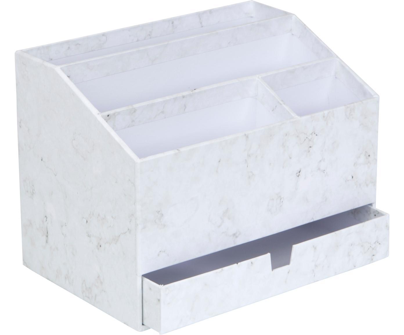 Organizer da ufficio Greta, Cartone solido e laminato, Bianco marmorizzato, Larg. 24 x Alt. 18 cm
