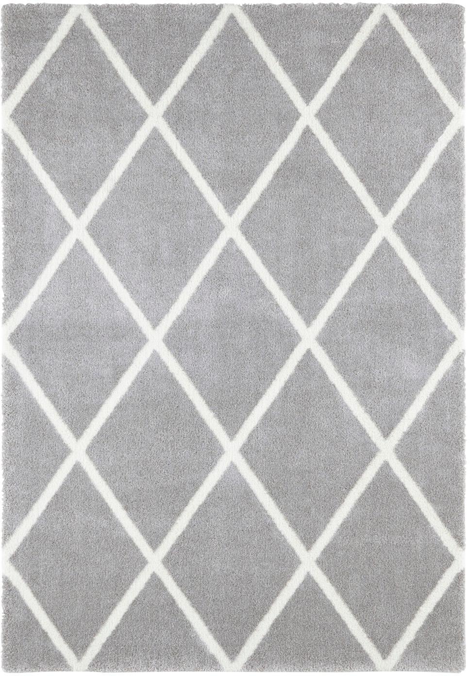 Teppich Lunel mit Rautenmuster, Flor: 85%Polypropylen, 15%Pol, Silbergrau, Creme, B 120 x L 170 cm (Grösse S)