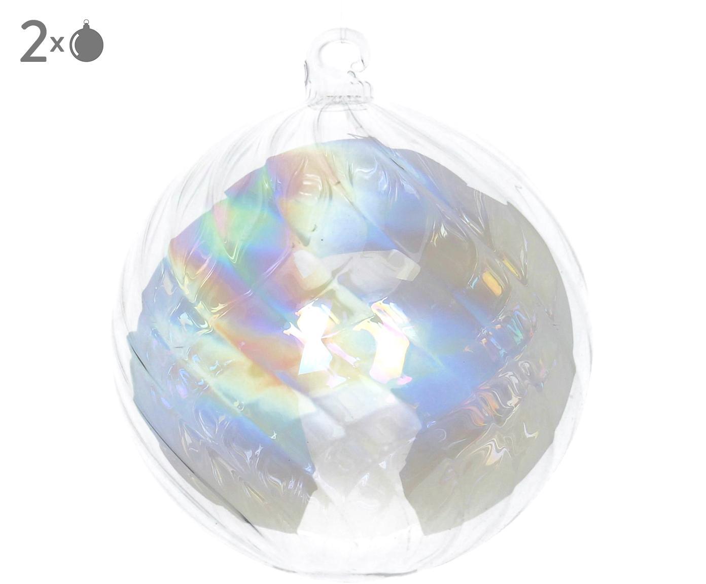 Kerstballen Iridescent, 2 stuks, Transparant, iriserend, Ø 8 cm