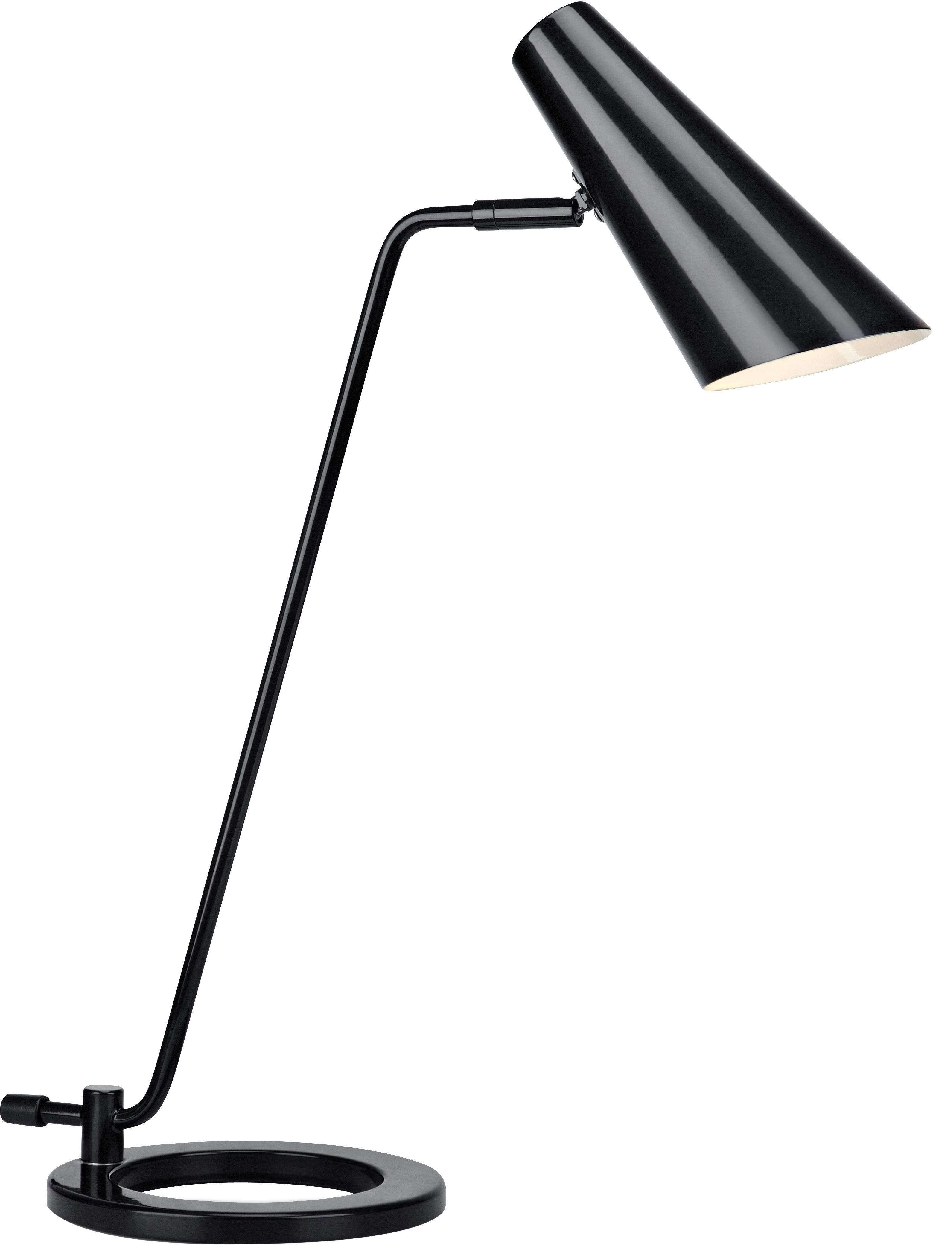 Lampada da tavolo nera Cal, Metallo verniciato, Nero Paralume all'interno: bianco, Larg. 40 x Alt. 50 cm
