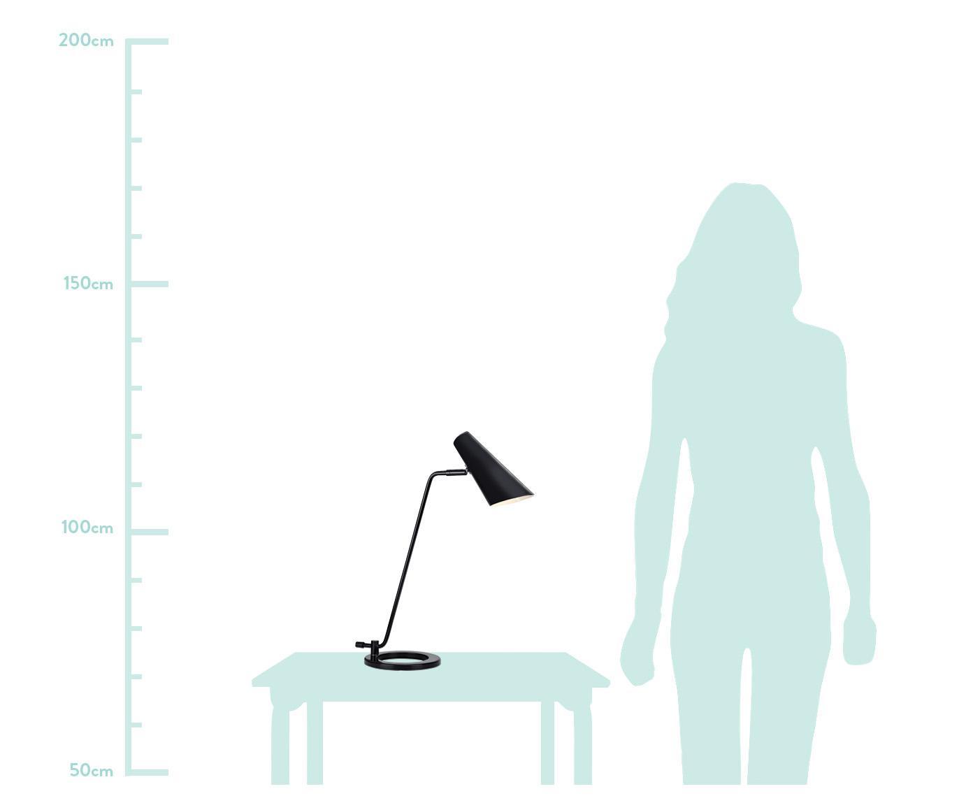 Moderne Schreibtischlampe Cal aus Metall, Lampenschirm: Metall, lackiert, Lampenfuß: Metall, lackiert, Schwarz<br>Lampenschirm innen: Weiß, 40 x 50 cm