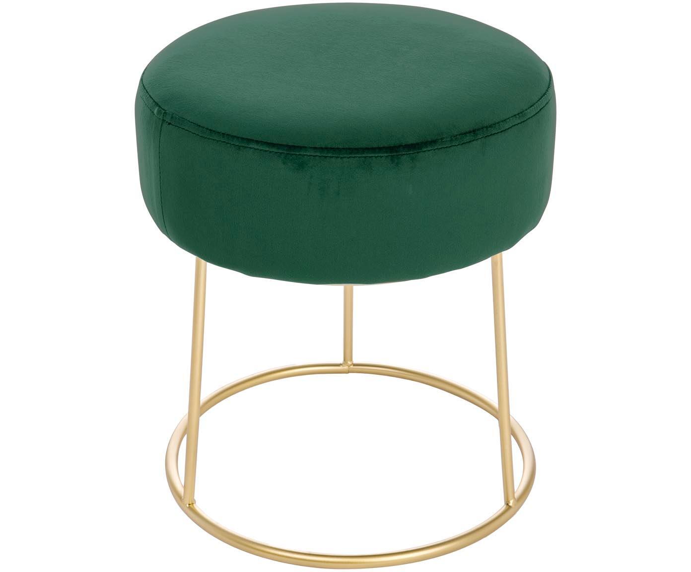 Ronde fluwelen poef Clarissa, Bekleding: 100% polyester fluweel, Frame: MDF, Poten: gelakt RVS, Bekleding: groen poten: goudkleurig, Ø 35 x H 40 cm