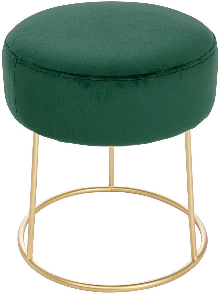 Sgabello rotondo in velluto Clarissa, Rivestimento: 100% velluto di poliester, Rivestimento: verde<br>Base: dorato, Ø 35 x Alt. 40 cm