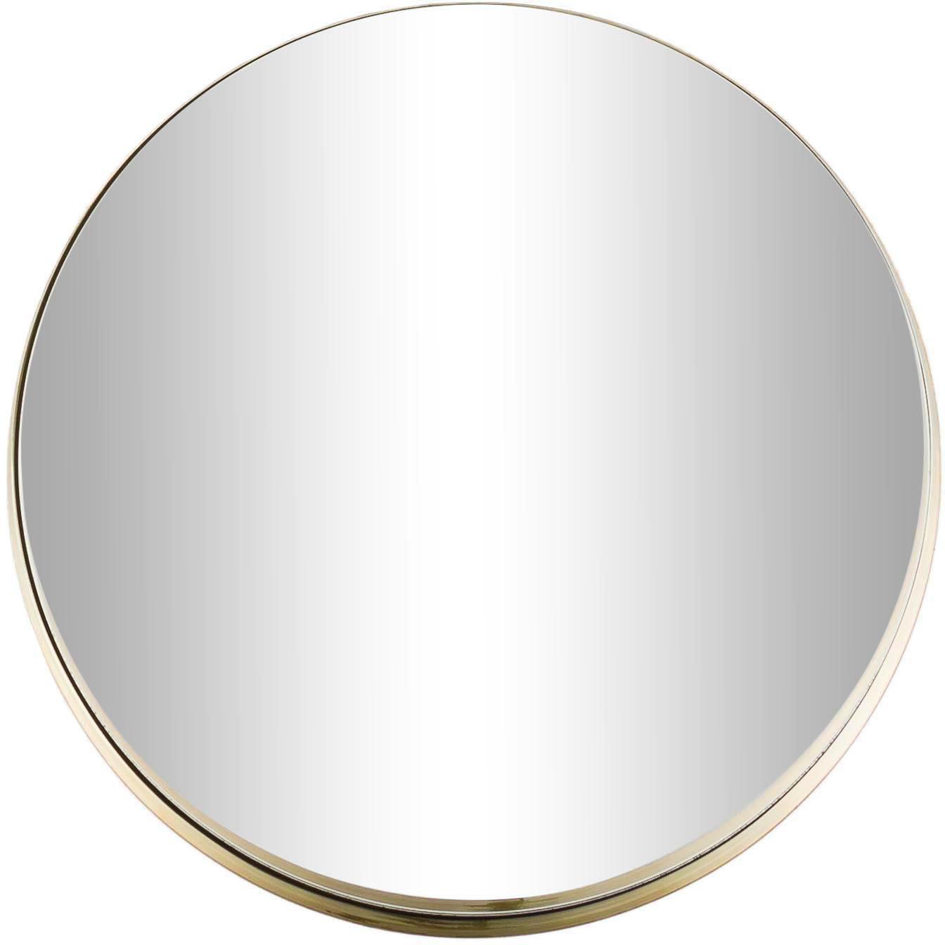 Ronde wandspiegel Metal met goudkleurige lijst, Lijst: gelakt metaal, met bewust, Lijst: goudkleurig. Spiegelglas, Ø 51 cm