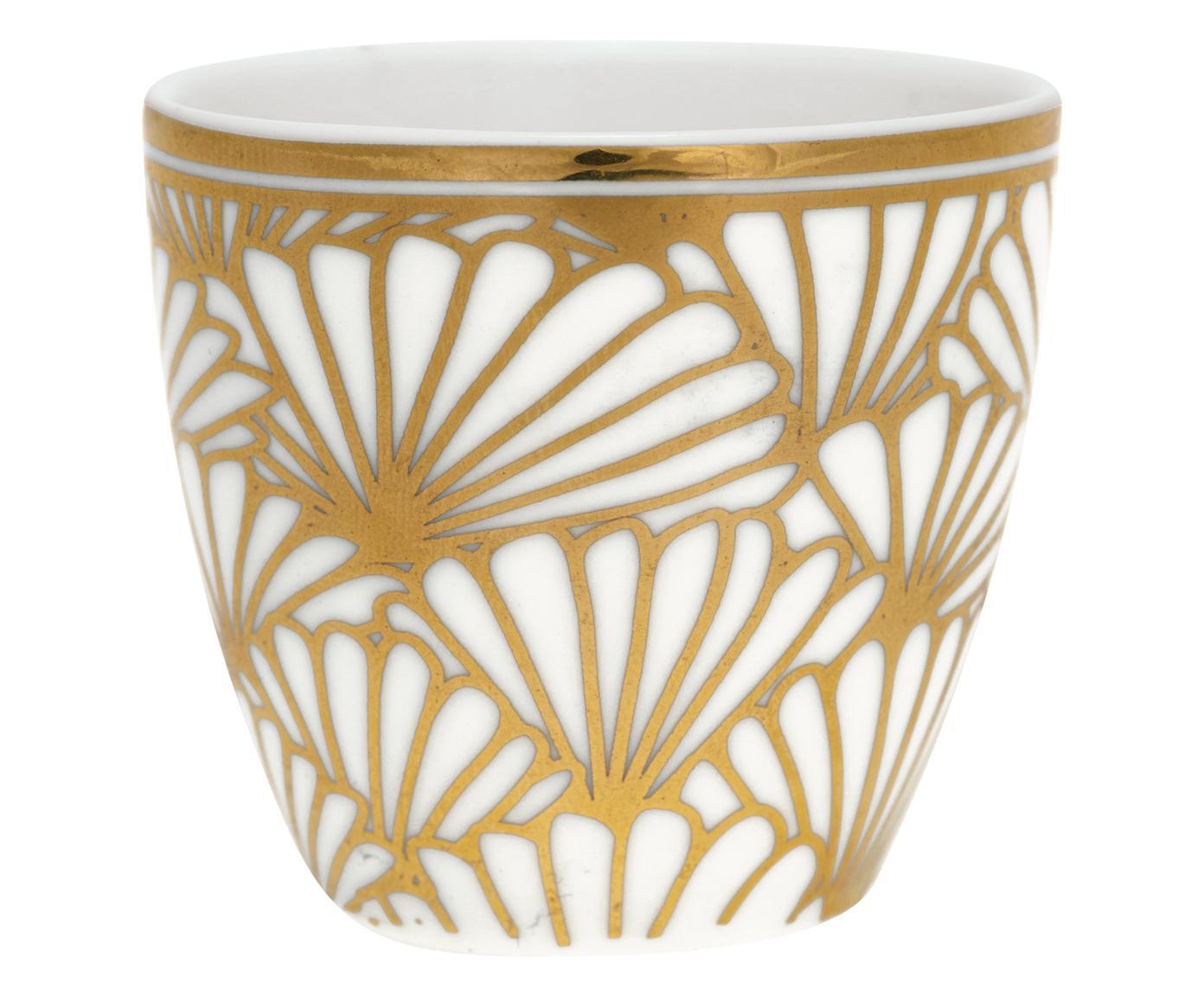Ręcznie wykonany kieliszek do jajek Jacqueline, 6szt., Kamionka, Biały, odcienie złotego, Ø 4 x W 5 cm
