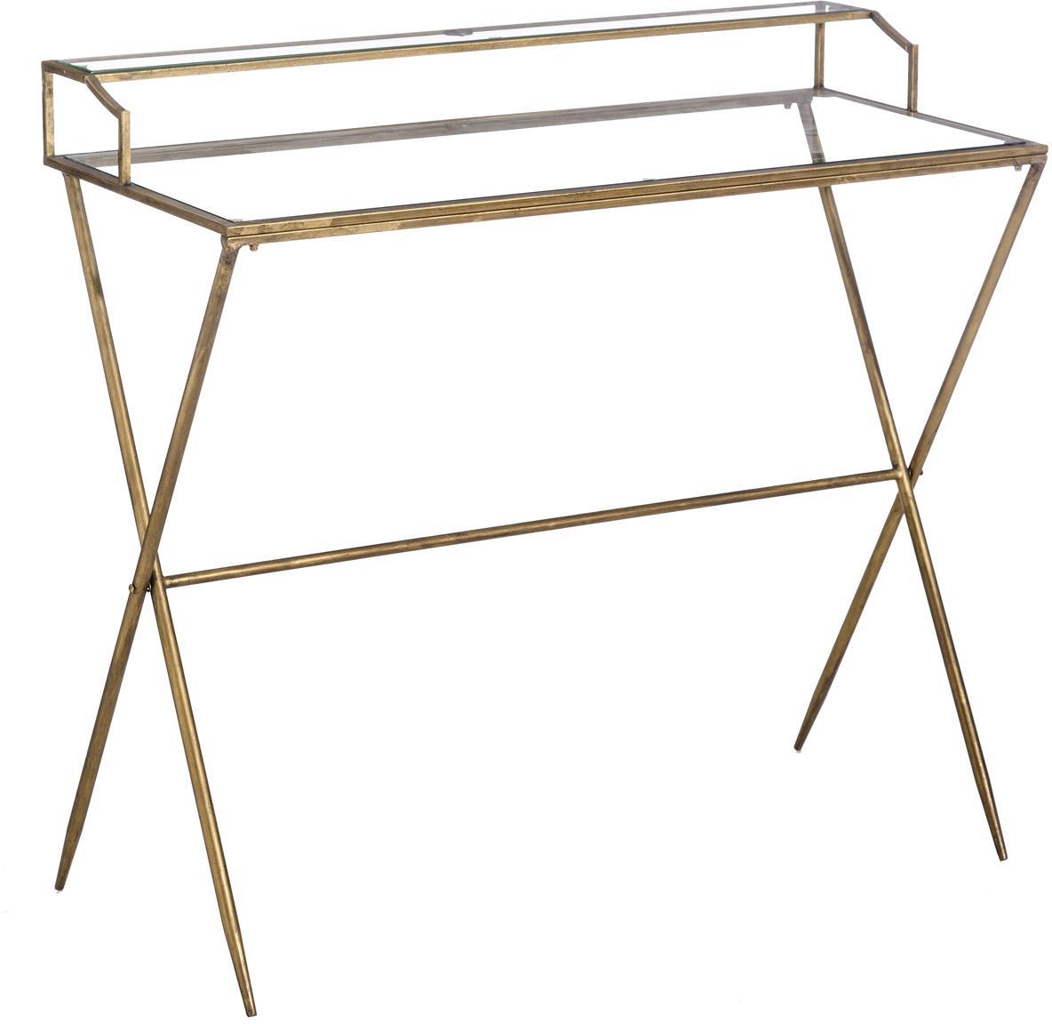 Glas-Schreibtisch Granada mit Antik-Finish, Gestell: Metall, beschichtet, Tischplatte: Sicherheitsglas, Messingfarben mit Antik-Finish, Transparent, B 95 x T 42 cm