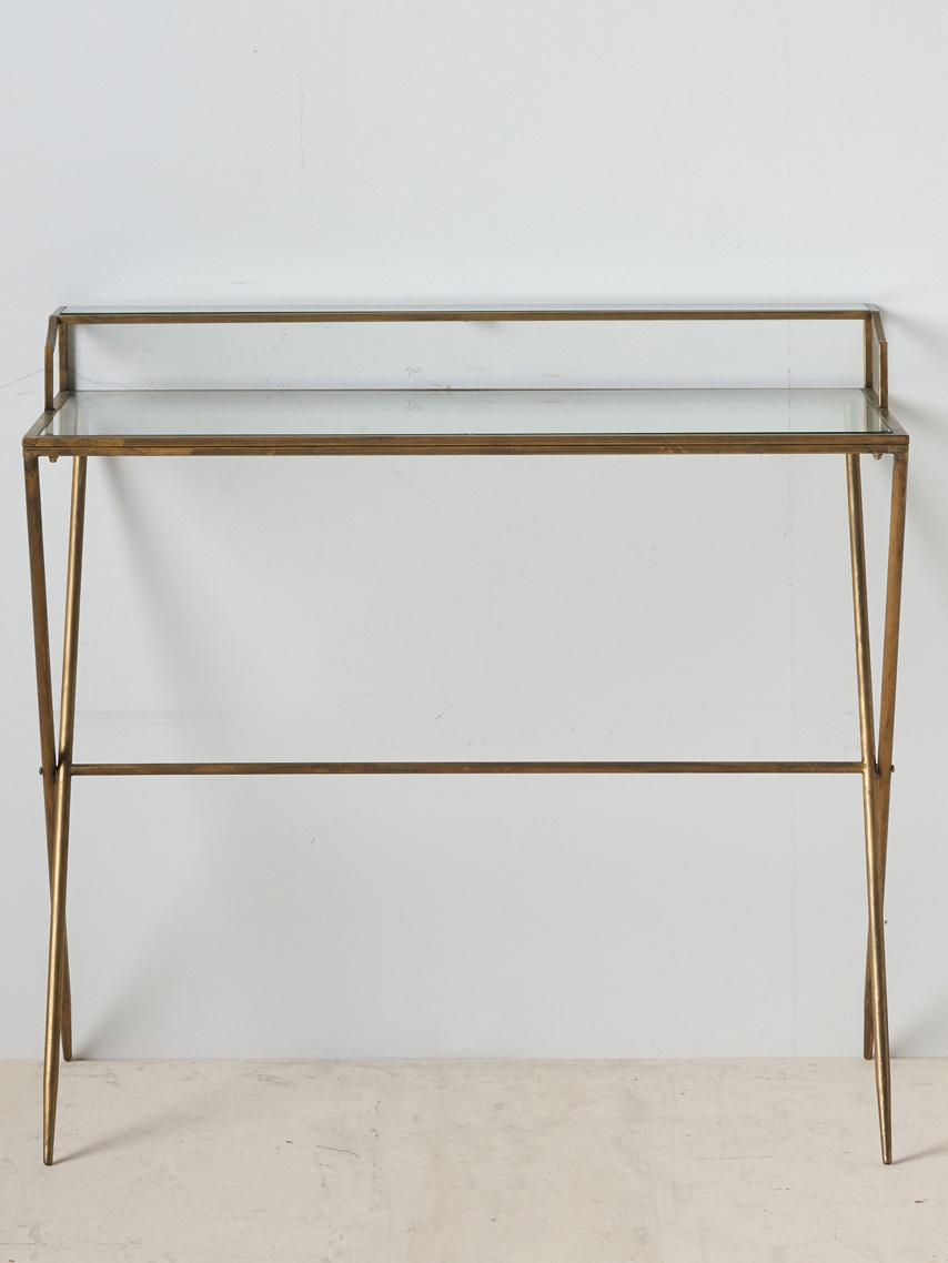 Scrivania in vetro con finitura anticata Granada, Struttura: metallo rivestito, Piano d'appoggio: vetro temperato, Ottonato con finitura antica, trasparente, Larg. 95 x Prof. 42 cm