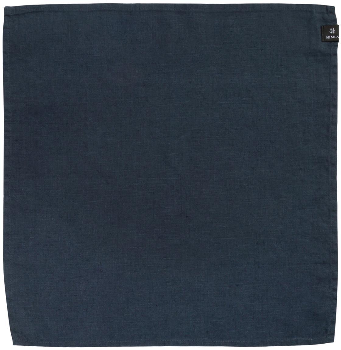 Leinen-Servietten Sunshine, 4 Stück, Leinen, Stahlblau, 45 x 45 cm