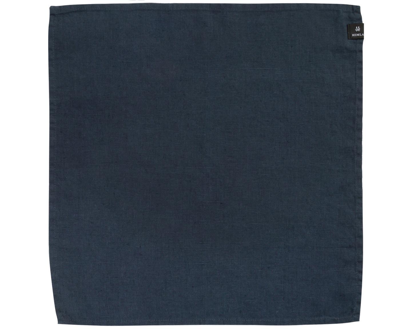 Linnen servetten Sunshine, 4 stuks, Linnen, Staalblauw, 45 x 45 cm