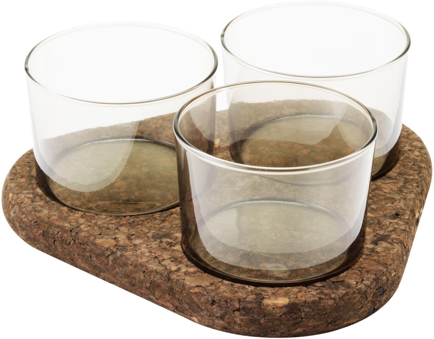 Serveerschaal set Raw, 4-delig, Glas, kurk, Transparant, bruin, Set met verschillende formaten