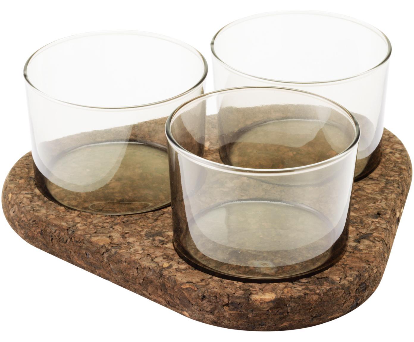 Serveerschaal set Raw, 4-delig, Glas, kurk, Transparant, bruin, Verschillende formaten