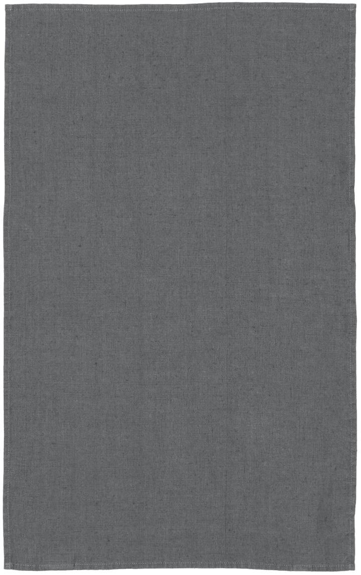 Paño de cocina de lino Ruta, Gris claro, An 45 x L 70 cm