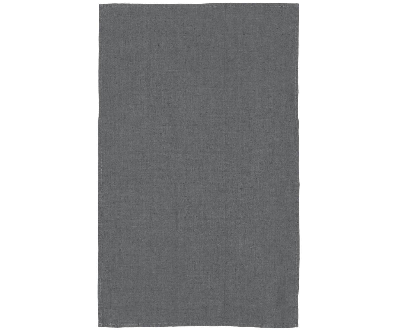 Ręcznik kuchenny z lnu Ruta, Jasny szary, S 45 x D 70 cm