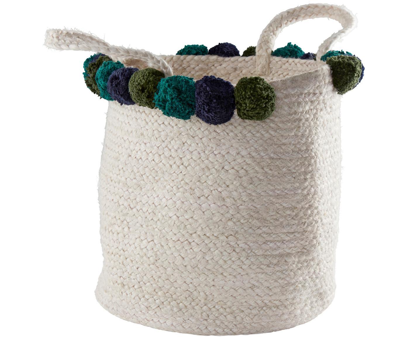 Opbergmand Pompom, Mand: jute, Wit, blauw, groen, Ø 35 cm