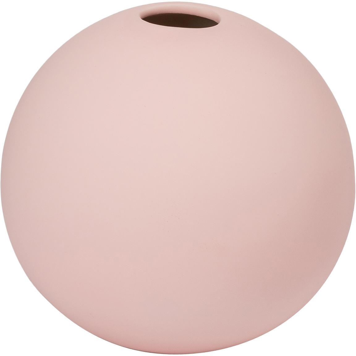 Jarrón artesanal Ball, Cerámica, Rosa, Ø 8 x Al 8 cm