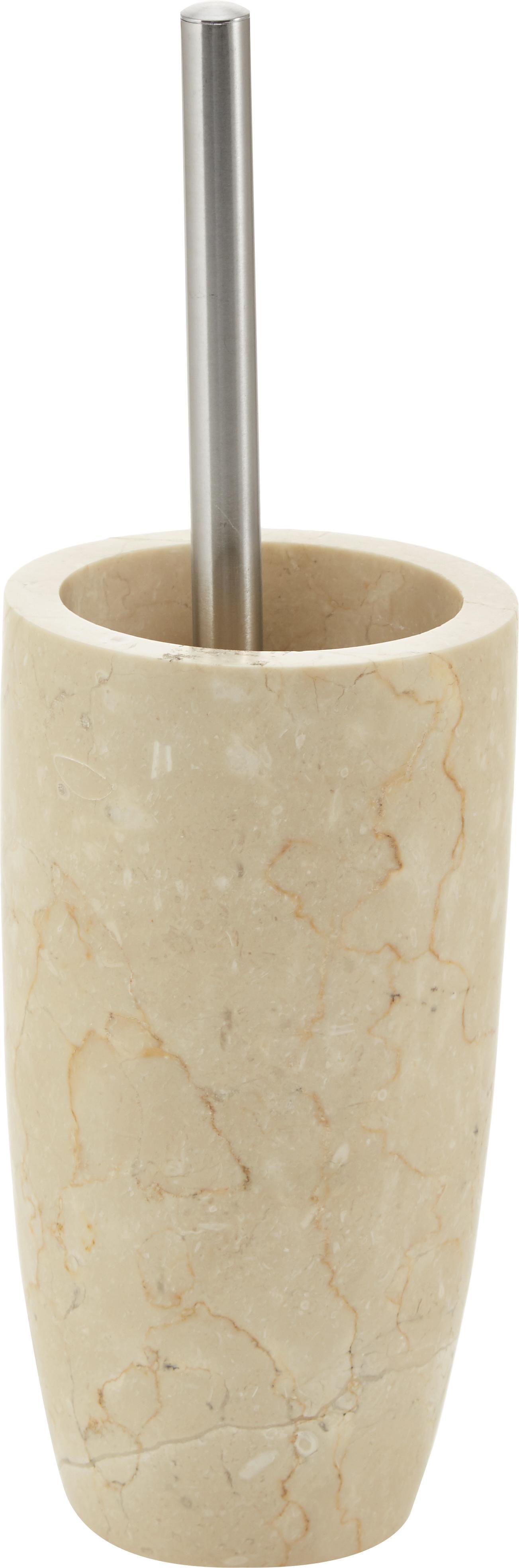 Marmeren toiletborstel Luxor, Houder: marmer, Beige, staalkleurig, Ø 11 x H 36 cm