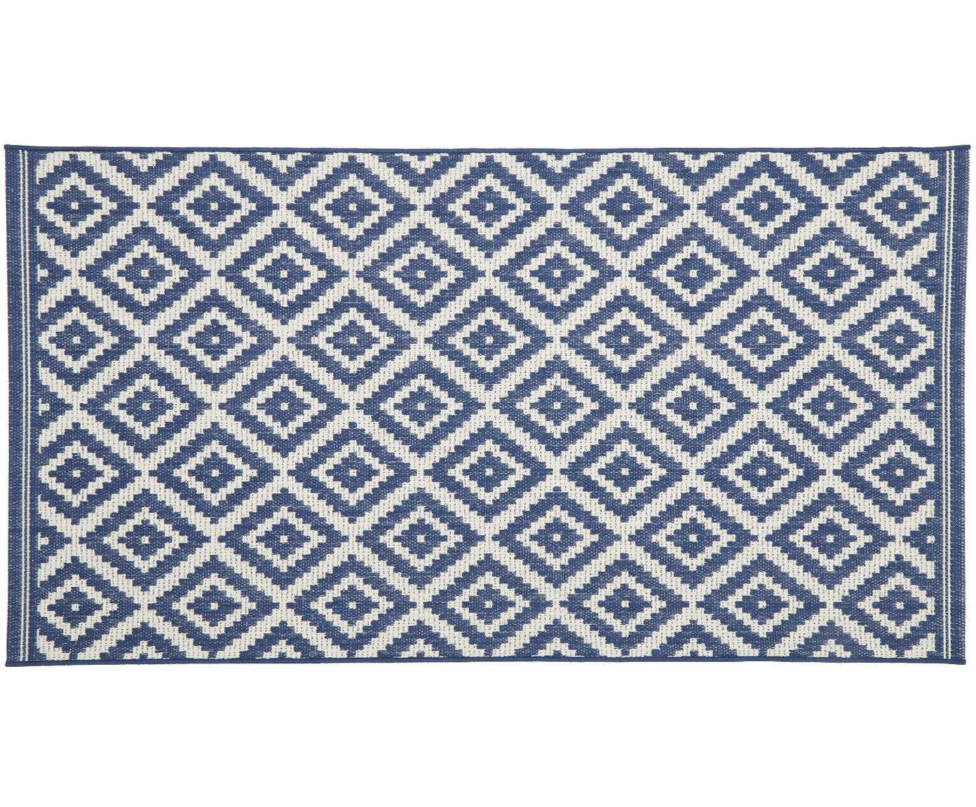 Alfombra de interior/exterior Miami, Parte superior: polipropileno, Reverso: poliéster, Blanco crema, azul, An 80 x L 150 cm (Tamaño XS)
