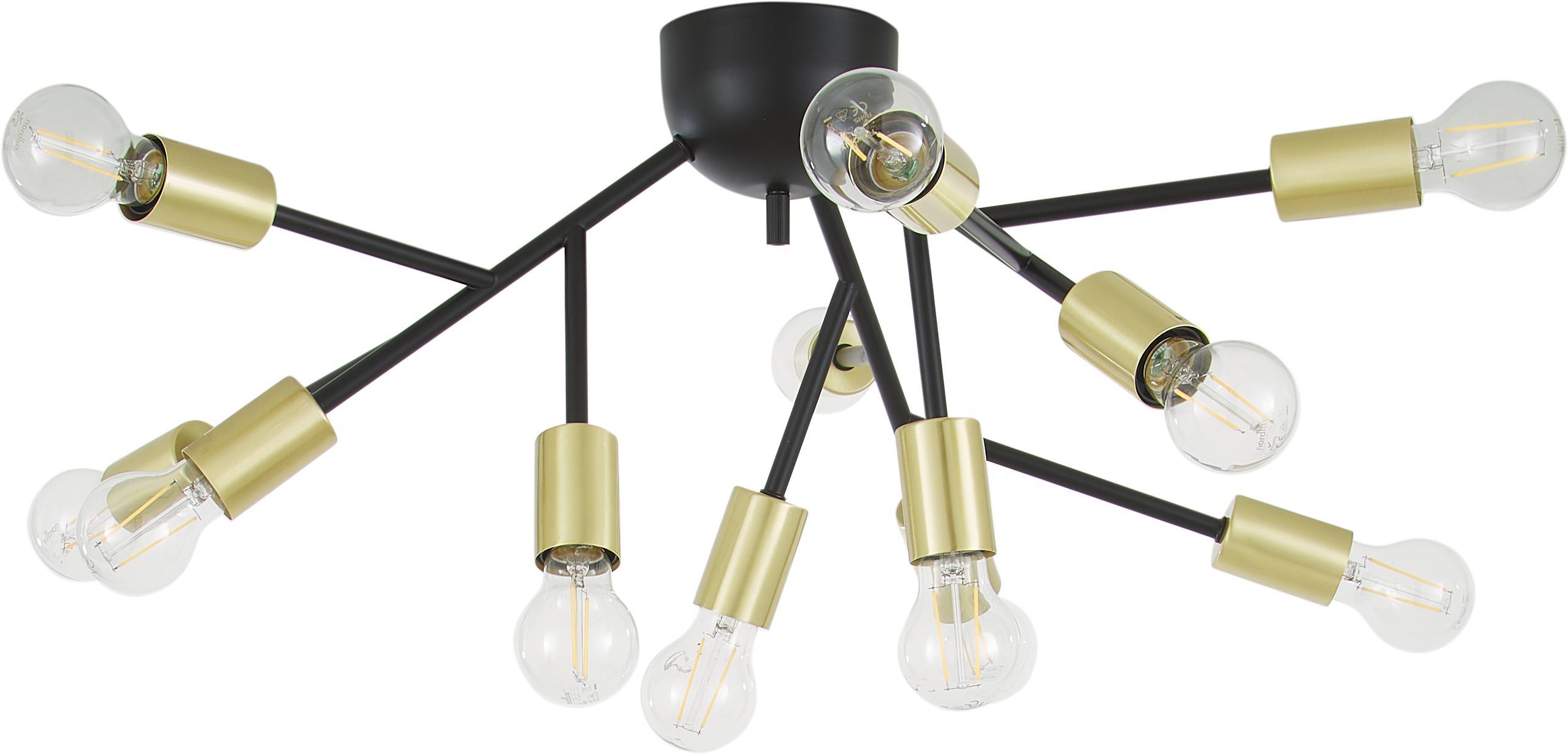 Lampa sufitowa Hero, Czarny, mosiądz, Ø 72 x W 28 cm