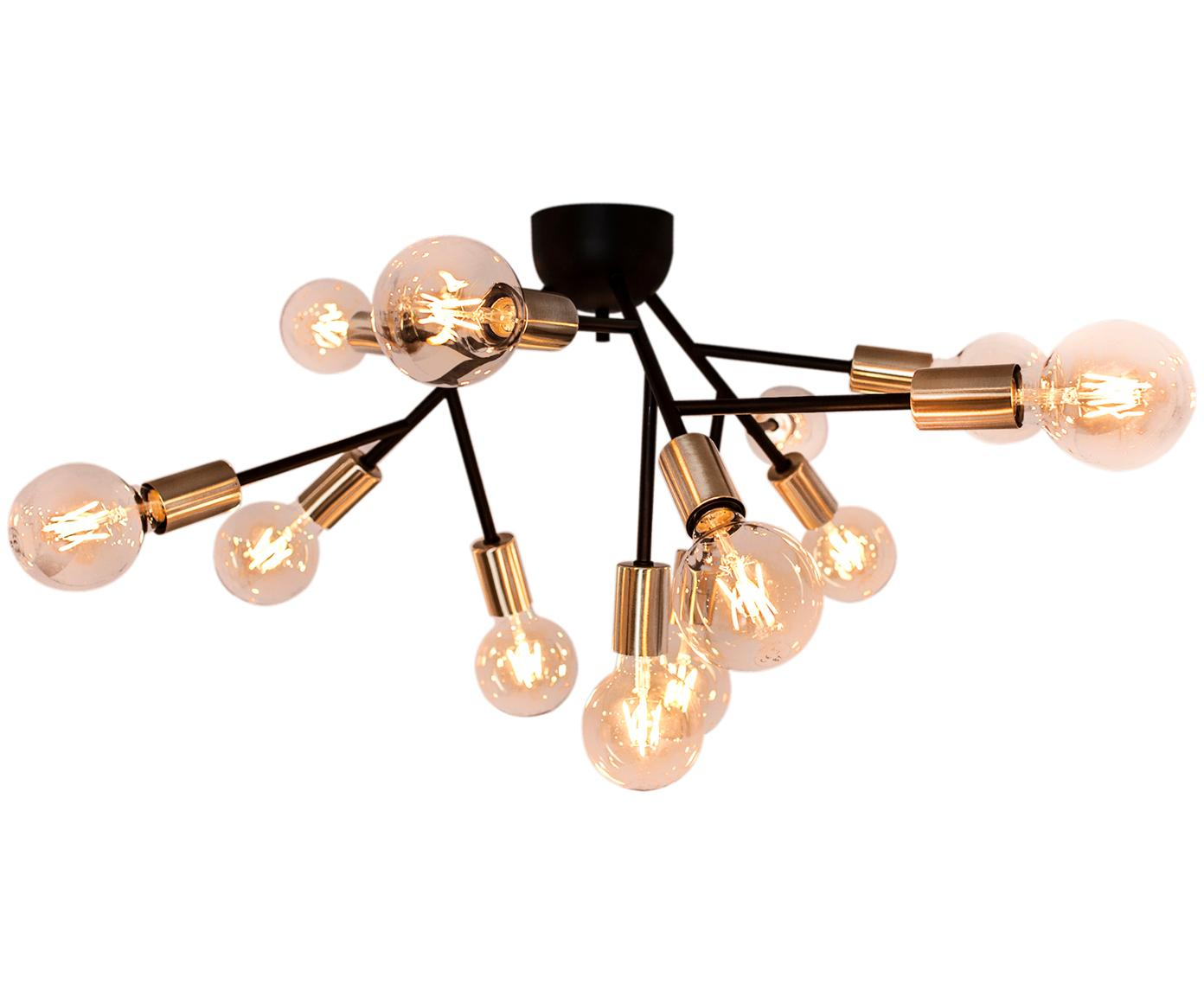 Moderne plafondlamp Hero, Zwart, messingkleurig, Ø 72 x H 28 cm