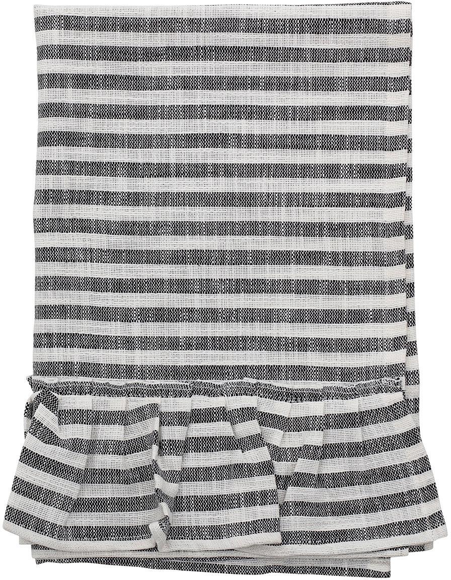 Geschirrtuch Egina mit Rüschen, Baumwolle, Schwarz, gebrochenes Weiss, 45 x 70 cm